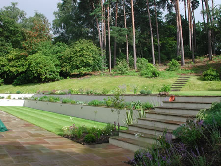 Hillside garden with planted terracing for Garden design level 3